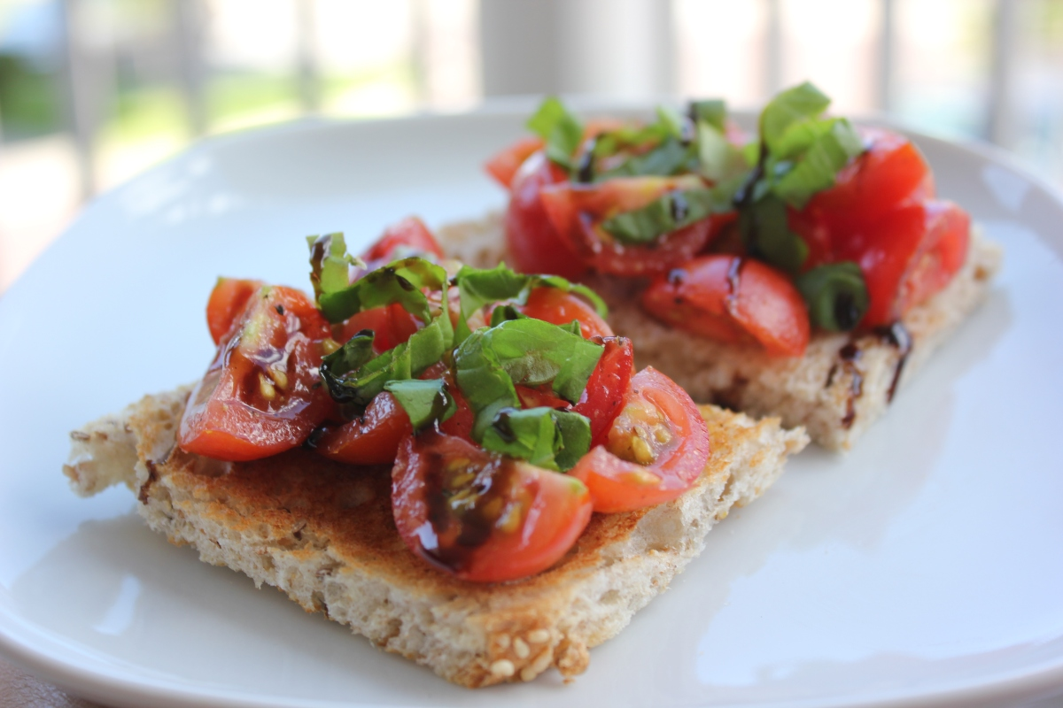 Cherry tomato, basil and balsamic glazed bruschetta recipe